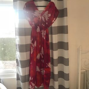 Chiffon floral print maxi dress